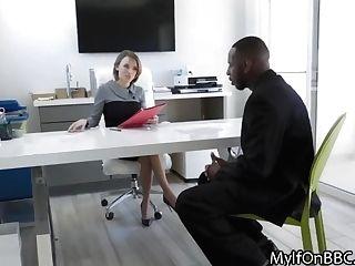 Big Tit Chief Milks Studs Big Black Cock On Job Interview