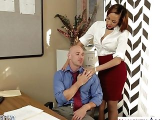 Hot Samoan Cougar Serena Ali Tempts Johnny Sins And Gets Fucked On The Office Table