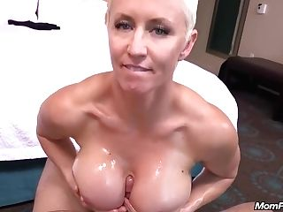 Brief Haired, Blonde Woman With Blue Eyes Is Sucking Pink Cigar And Munching Those Big Nuts