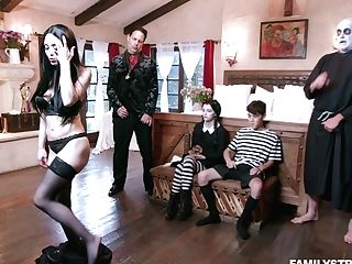 Nice Teenager Kate Bloom Is Fucked By A Few Dudes From Addams Family