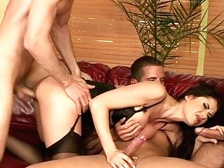Dark Haired Whore With Trio Dicks