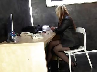 Matures Blonde Woman In Black Pantyhose Is Masturbating While At Work And Sucking A Faux Dick